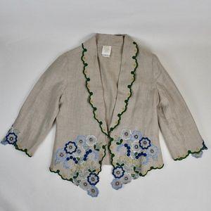 (ANNA SUI) Linen Embroidered Blazer